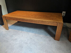 Vintage Solid Oak Coffee and Side Table Set