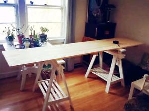 Handmade long table /Ikea adjustable legs