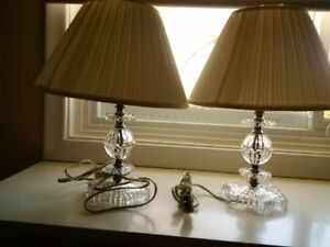 W@W ONLY $35 PAIR ANTIQUE CRYSTAL CUTGLASS LAMPS