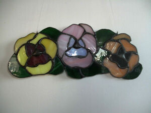 Stained glass pansies