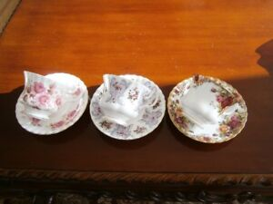 THREE EXCEPTIONAL ROYAL ALBERT CUP & SAUCER SETS