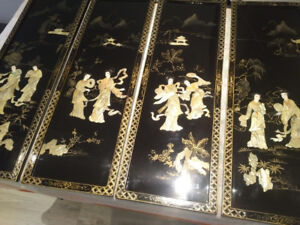 Oriental Wall Panels Mother of Pearl on Black Lacquered Wood