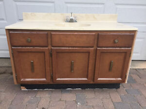 Bathroom vanity and marble countertop and faucet