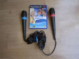 PS2 SINGSTAR MICROPHONES AND GAME