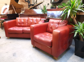 Stunning Italian Red Leather Cushioned 2 Seater sofa & Armchair