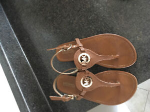 MK brown and gold sandles/ sold