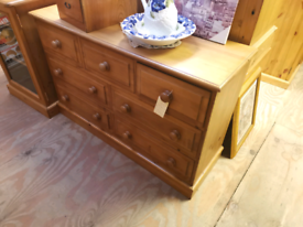 Pine long chest of draws