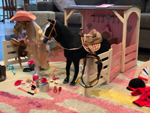 Our Generation Wooden Horse Stable w/horses
