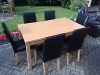 50% ARGOS PRICE! Ashdon oak 120cm table with midback black chairs oak x4