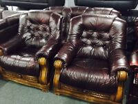 As new stunning 3 11 leather sofa set in an oak frame