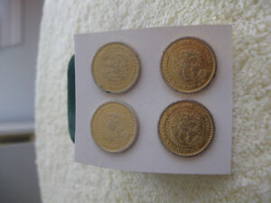 FOUR OLD ANTIQUE [1760] BRASS AUSTRIAN MILITARY BUTTONS