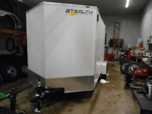 """2018 STEALTH MUSTANG 7' X 12'+30"""" V-NOSE/DOUBLE DOOR/WHITE/6'6"""""""