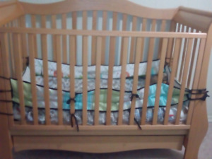 Crib with change table