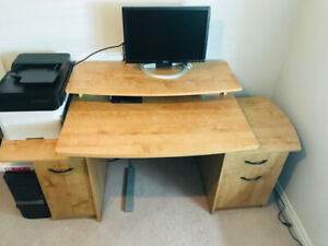 Desk with lots of storage & filing cabinet