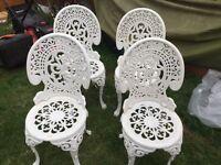 Vintage Ornate Cast Aluminium Garden Table & 4 Chairs Patio Furniture Set