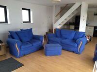 3-2-1 blue fabric suite