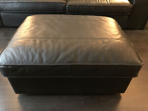 IKEA KIVIK FOOTSTOOL/OTTOMAN GRANN/BOMSTAD BLACK LEATHER