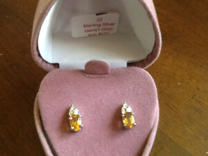 Sparkling Diamond and Citrine Earrings