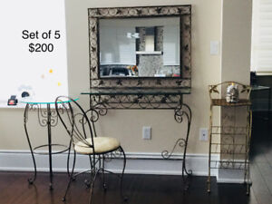 2 Iron/glass Tables, Chair, Side Stand and Wall mount Mirror