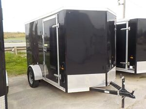 "6 x 10 + 18"" Vnose Enclosed Utility Trailer With Rear Ramp"