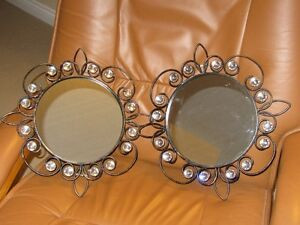 TWO GLASS MIRRORS WITH RHINESTONES AROUND THE MIRRORS