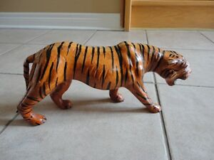 Tiger statue figurine leather decorative accent London Ontario image 1