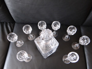 Nachman Crystal carafe with shot glasses.