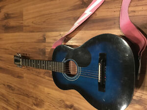 BLUE SMALL ACUSTIC GUITAR FOR SALE!!!!!