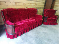 Transylvania Style Bright Red Velvet Couch and Chair - Delivery