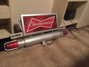 Budweiser sign and 2 connect goal lamps