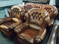 Free delivery 🎅 brown leather 3 11 sofa set