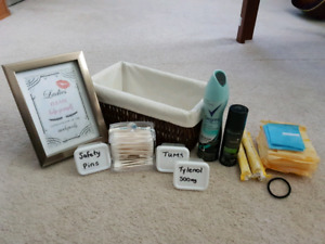 Wedding bathroom baskets w/signs