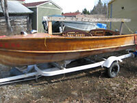 14 ft Wood Boat and Trailer; will separate and sell individually