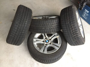 "Almost New Michelin X-Ice3 Winter Tires on 16"" OEM BMW 328i Rims"