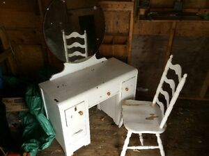 Dressing table and chair.