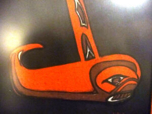 "Blackfish Artist, Original Haida Mask Pastel, Shawn Aster ""Orca"" Stratford Kitchener Area image 4"