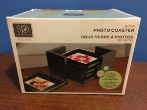 Set of 4 Glass Photo Coasters (w/ wood holder) - NEW!