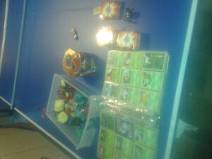 large Pokemon and Bakugan collection - cards, tin, and figures