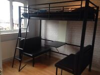 High sleeper metal single bed with pull down sofa and desk area