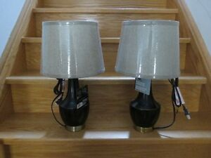 BRAND NEW - 2 BLACK/BRASS FINISH METAL ACCENT TABLE LAMPS
