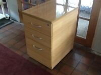 "3 drawer wooden filing/office cabinet Beech colour 17"" wide Good condition"