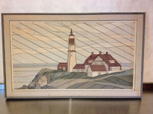 Distressed Wooden Watercolor Mosaic - Lighthouse Scene