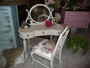 Pretty Bombay Co Vanity and Antique French Provincial Chair