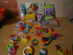 Assorted baby toys and items