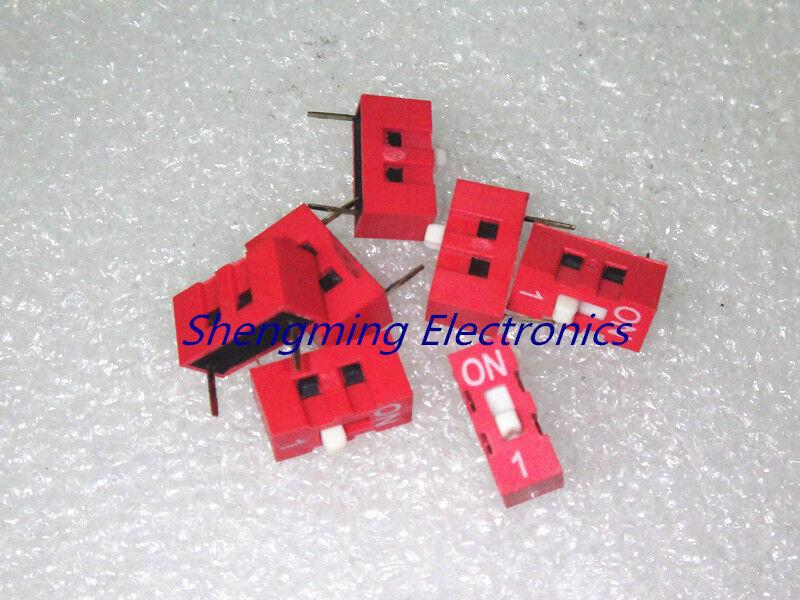 100PCS Slide Type Switch Module 1-Bit 2.54mm 1 Position Way DIP-2 Red Pitch
