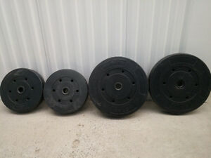 Two 10 lb, Two 15 lb, Two 25 lb Concrete Barbell Plates, Barbell