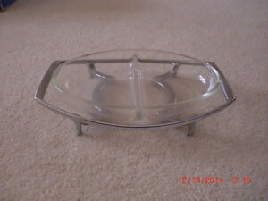 1950s/1960s/MID-CENTURY CORNING WARE DIVIDED GLASS SERVING DISH