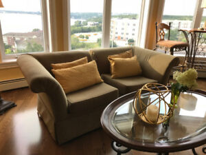 WANT A MAGAZINE WORTHY LOOK?  2 LUXE CORNER CHAIRS