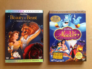 Disney Beauty and the Beast and Aladdin Platinum Edition DVDs