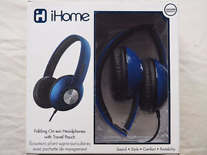 iHome Foldable On-ear headphones with travel pouch